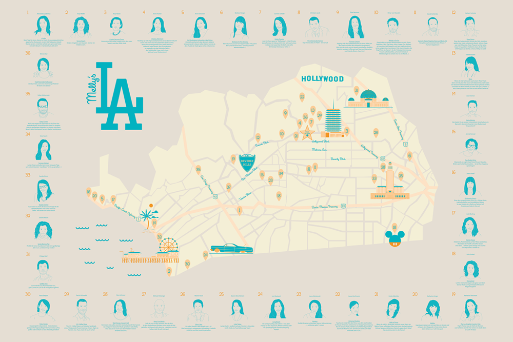 Melly Goes LA - Illustrated City Map by upstruct