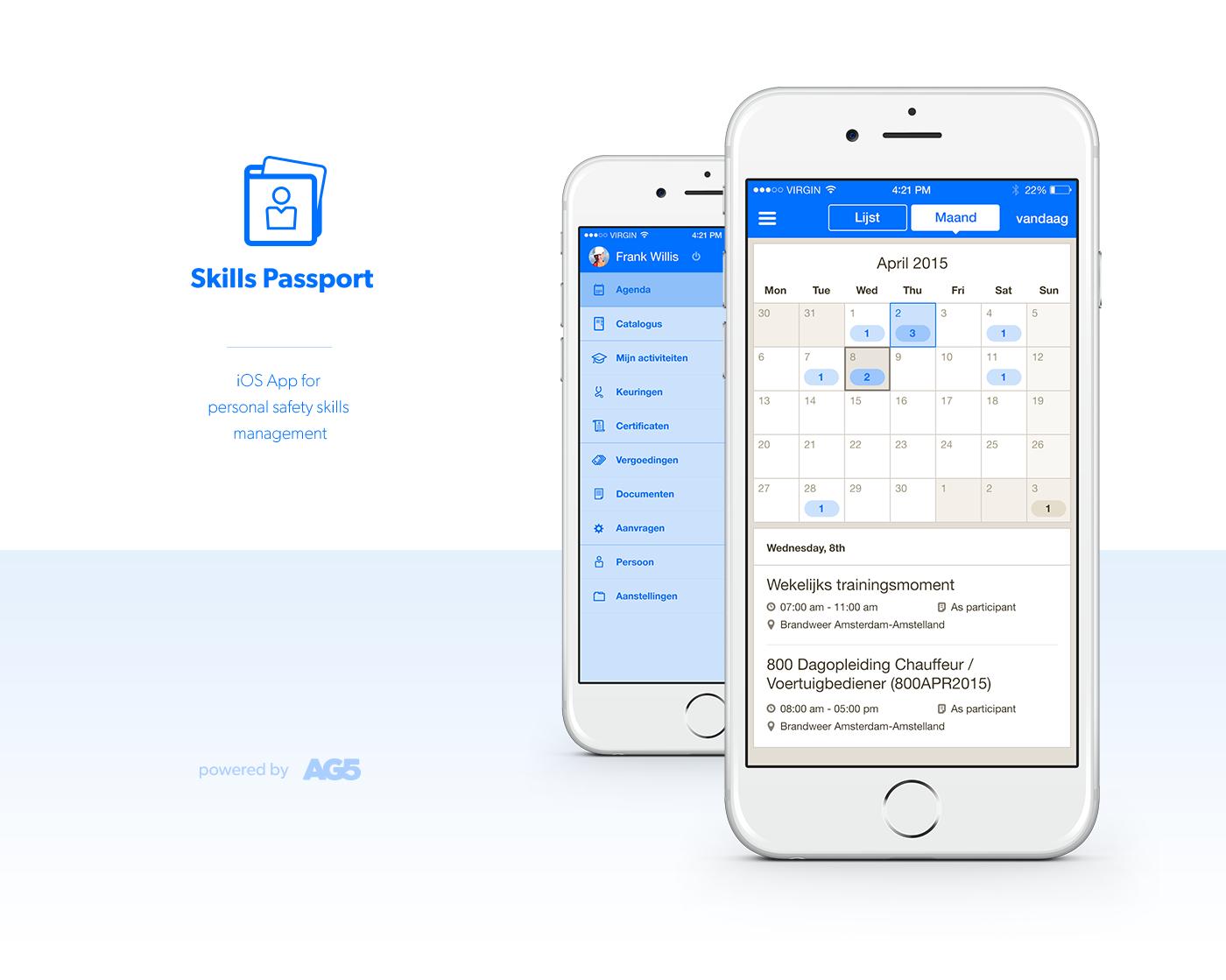 AG5 Skills Passport iOS App Design by upstruct