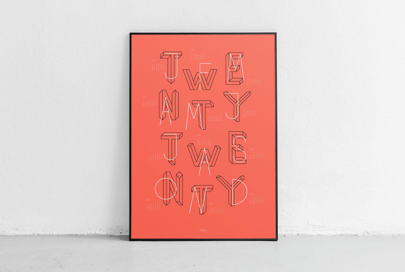 upstruct calendar 2020 - typographic poster